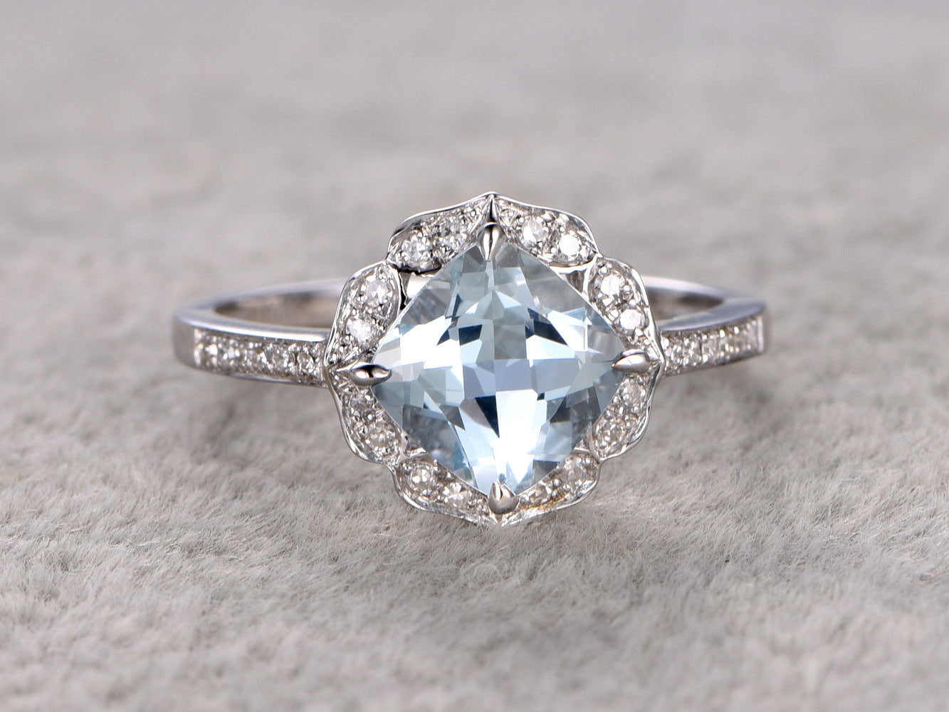 7mm Cushion Aquamarine Engagement ring White gold,Diamond wedding band,14k,Gemstone Promise Ring,Bridal Ring,Retro Vintage