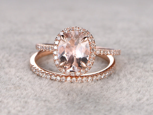 2pc 7x9mm Morganite Engagement ring set Rose gold,Diamond wedding band,14k,Gemstone Promise Bridal Ring,Claw Prongs,Halo Half Eternity