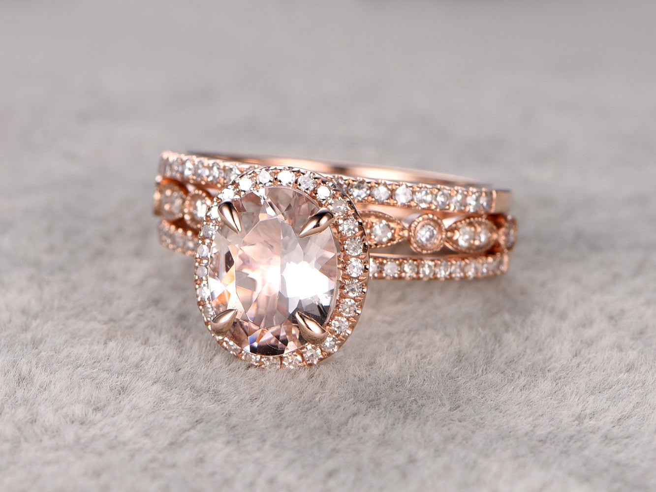 3pc 7x9mm Morganite Wedding ring set!Diamond Engagement ring Rose gold,14k,Gemstone Promise Bridal Ring,Claw Prongs,Halo Half Eternity band