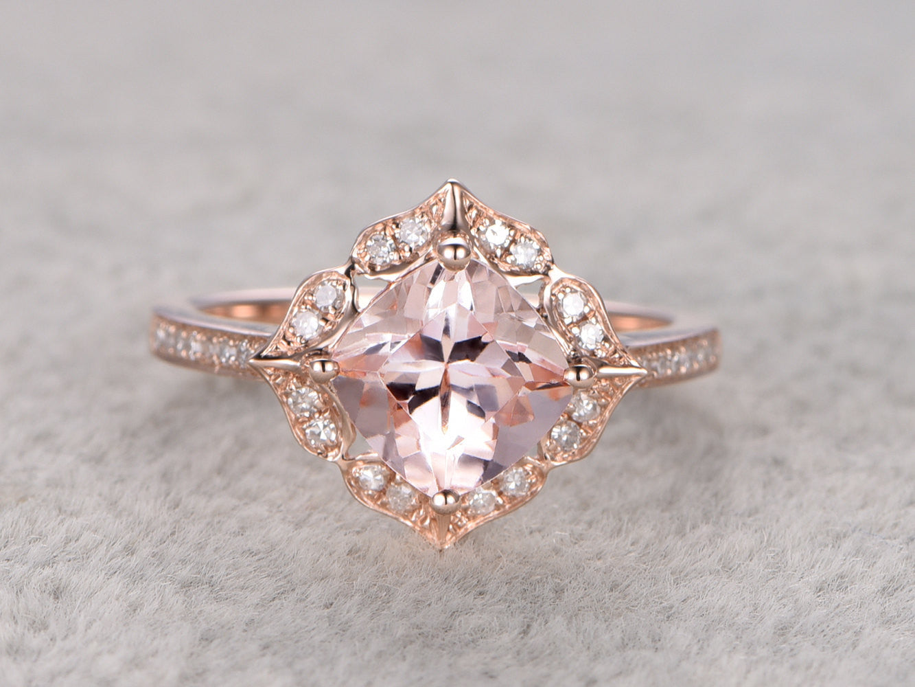 7mm Cushion Morganite Engagement ring Rose gold,Diamond wedding band,Promise Ring,Bridal Ring,Retro Vintage Floral,Custom made ring setting