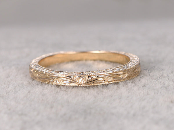 Art deco,Eternity Infinity Wedding Ring,Solid 14K Yellow gold,Anniversary Ring,Filigree Floral style,stacking,milgrain,Matching band