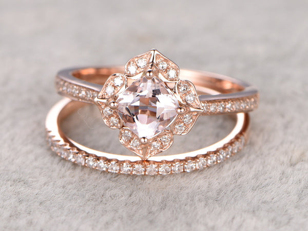 2pc 6mm Cushion Morganite Engagement ring set,Rose gold,Diamond wedding band,Promise Ring,Bridal Ring,bridal ring set,stacking ring