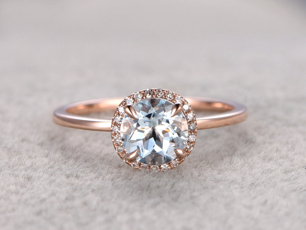 7mm Round Aquamarine Engagement ring,Diamond wedding band,14K Rose Plain Gold,Gemstone Promise Ring,Bridal Ring,IF Blue Aquamarine,Halo