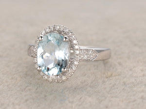7x9mm Oval Aquamarine Engagement ring,Diamond wedding band,14K Gold,Gemstone Promise Ring,Bridal Ring,IF Blue Aquamarine,Thick shank heavy