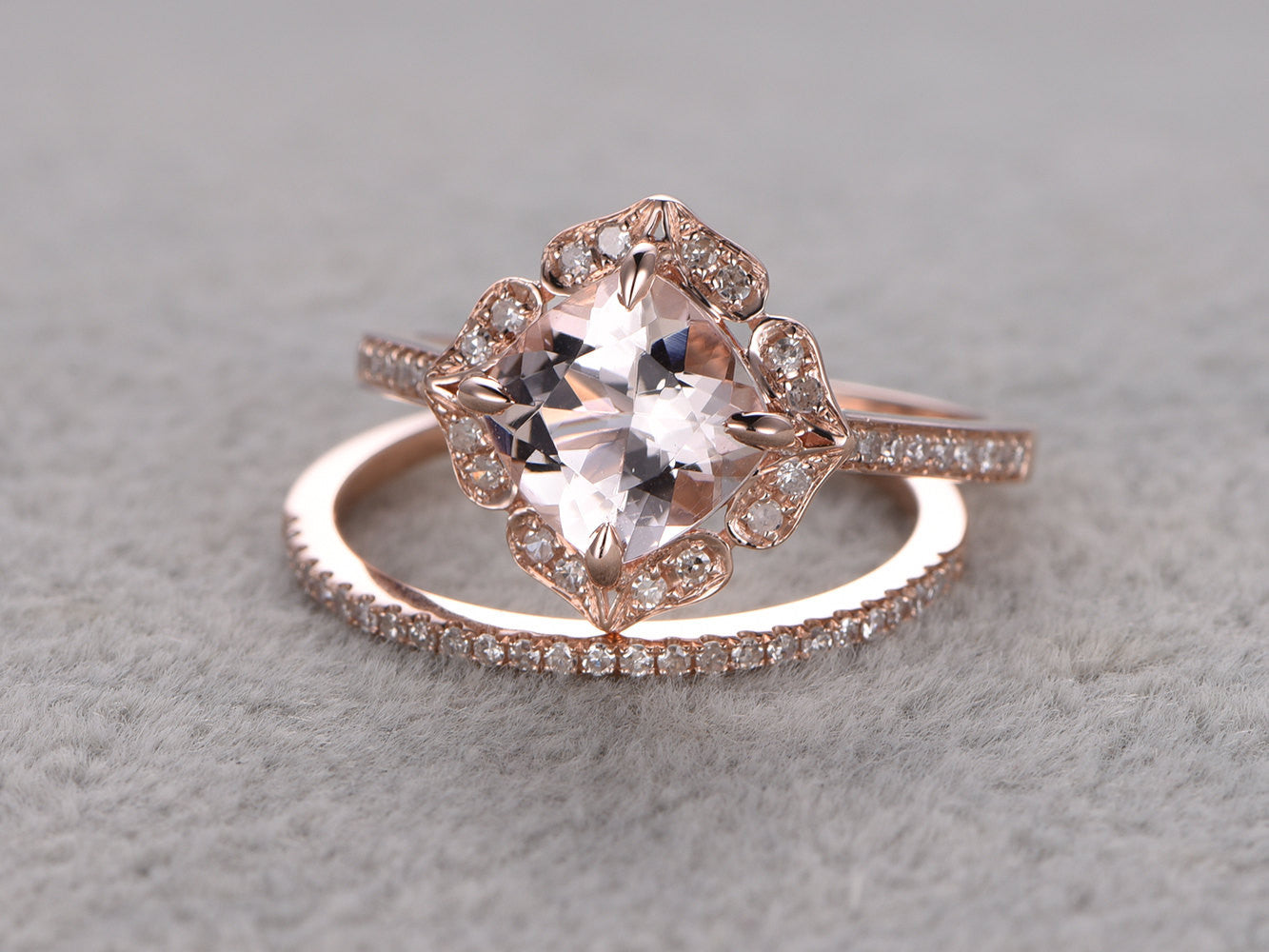 2pcs 8mm Morganite Bridal Ring Set,Engagement ring Rose gold,Diamond wedding band,14k,Cushion Cut,Promise Ring,Retro Vintage Floral,Art Deco