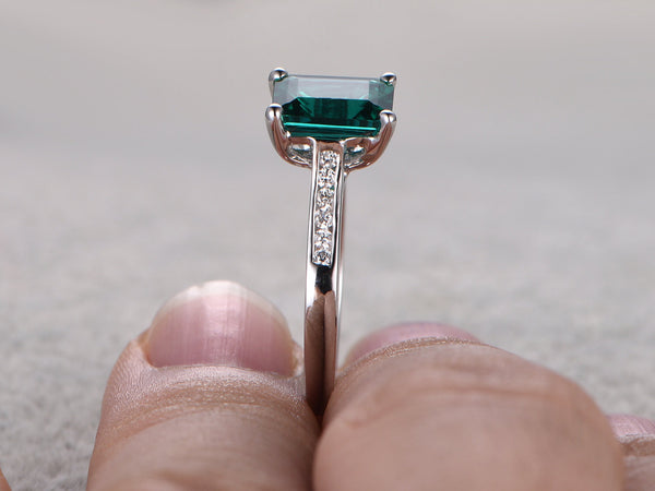 6x8mm Emerald Engagement ring White gold,Diamond wedding band,14k,Emerelad Cut Treated Emerald,Green Gemstone Promise Ring,Channel Set