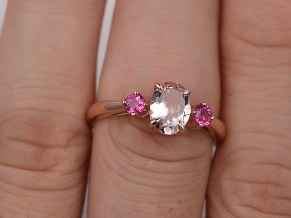 3 stones Morganite Engagement ring,Rose gold,Tourmaline wedding band,14k,6x8mm Oval Cut,Gemstone Promise Bridal Ring,Plain gold