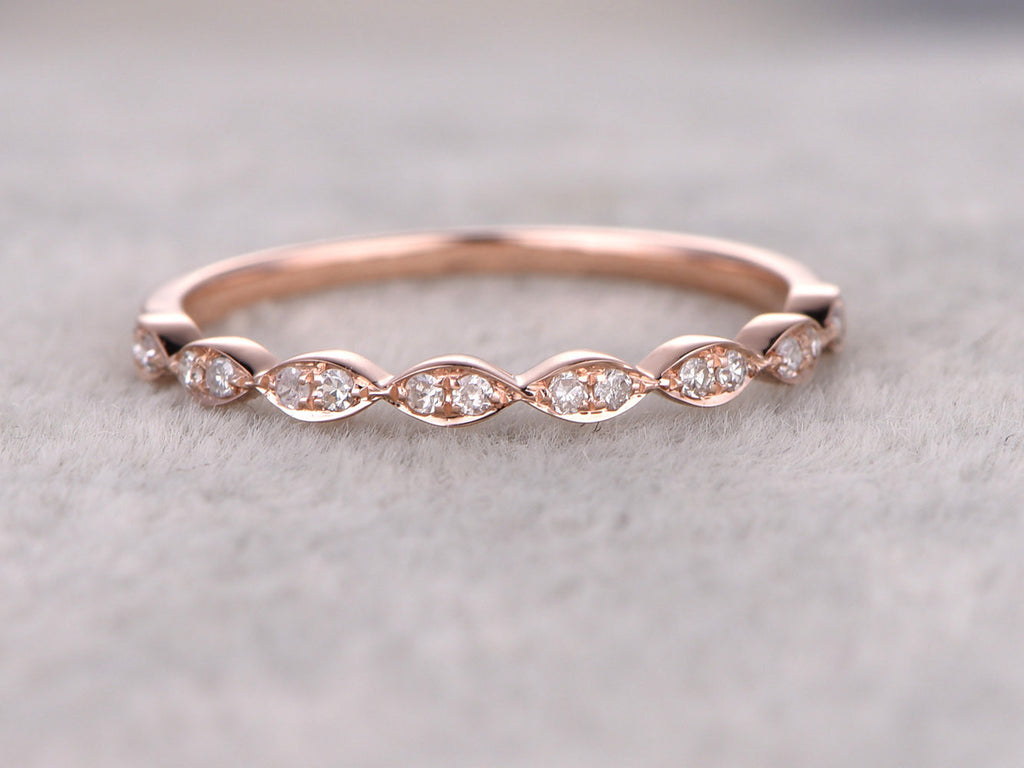 Natural Diamonds,Half Eternity Wedding Ring,Solid 14K Rose gold,Anniversary Ring,Art deco Marquise style,stacking ring,Matching band