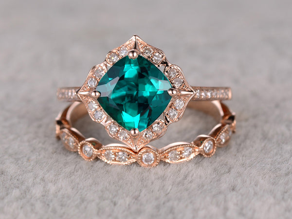 2pcs Emerald Engagement ring Set Rose gold,Diamond wedding band,7mm Cushion Cut,Bridal Ring,Retro Vintage Floral,Lab-Treated Green Emerald