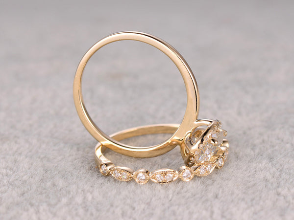 2pcs 1ct Moissanite Bridal Ring Set,Engagement ring Yellow Plain gold,Art Deco Diamond wedding band,6.5mm Round stone Promise Ring,Inifinity