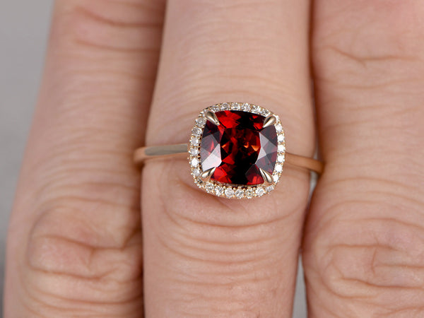 8mm Cushion Garnet Engagement ring,Diamond wedding band,14K Rose Plain Gold,Red stone Promise Ring,Bridal Ring,Birthstone Stacking Ring