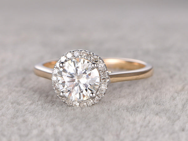 1ct brilliant Moissanite Engagement ring Two Tone Plain gold(14k yellow +white gold),Diamond wedding band,Halo Round Stone