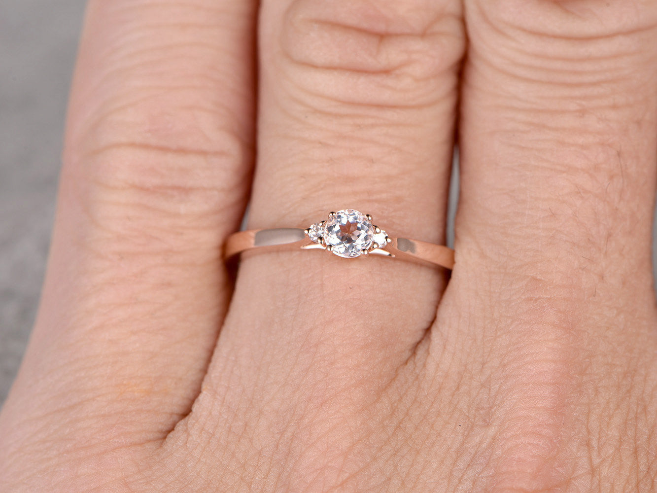 3 stones Morganite Engagement ring Rose gold,Diamond wedding band,14k,5mm Round Cut,Gemstone Promise Bridal Ring,Plain gold matching band