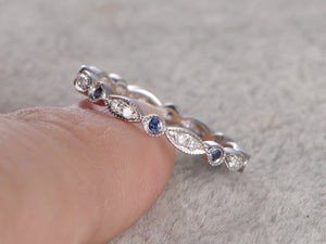 Natural Sapphire and Diamond,Full Eternity Wedding Ring,14K White gold,Anniversary Ring,Art deco,stacking,milgrain,Retro vintage Unique