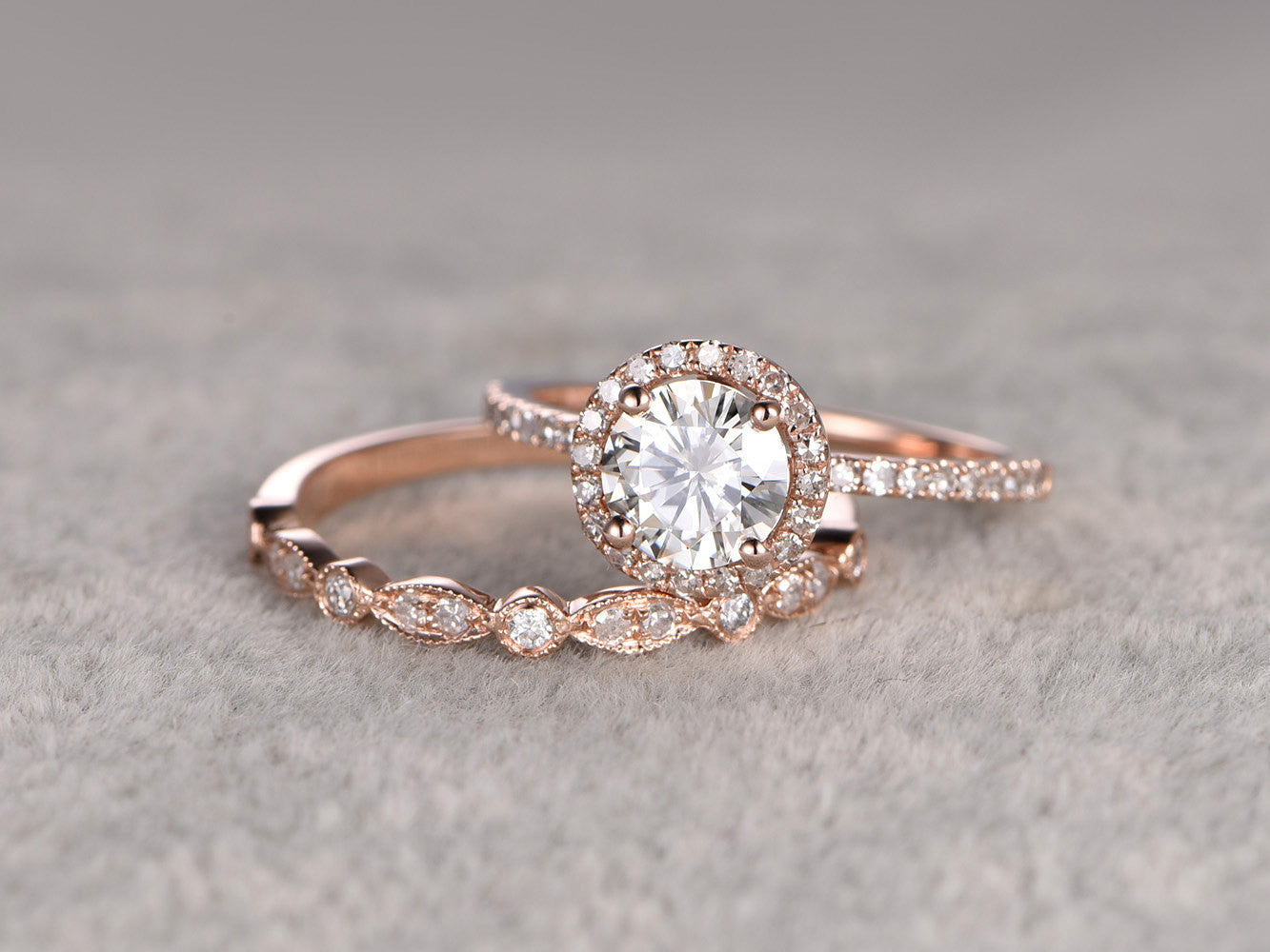 2 Moissanite Bridal Set,Moissanite Engagement ring Rose gold,Diamond wedding band,14k,6.5mm Round Cut,Art Deco eternity