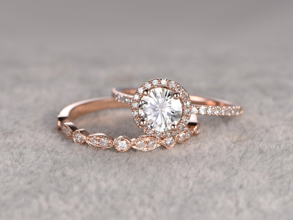 payment plan:Moissanite Bridal Set,Moissanite Engagement ring Rose gold,Diamond wedding band,14k,6.5mm Round Cut,size 8
