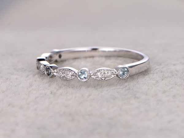 Natural Diamonds and Blue Topaz,Half Eternity Wedding band,14K white gold,Anniversary Ring,Art deco Marquise style,stacking,milgrain