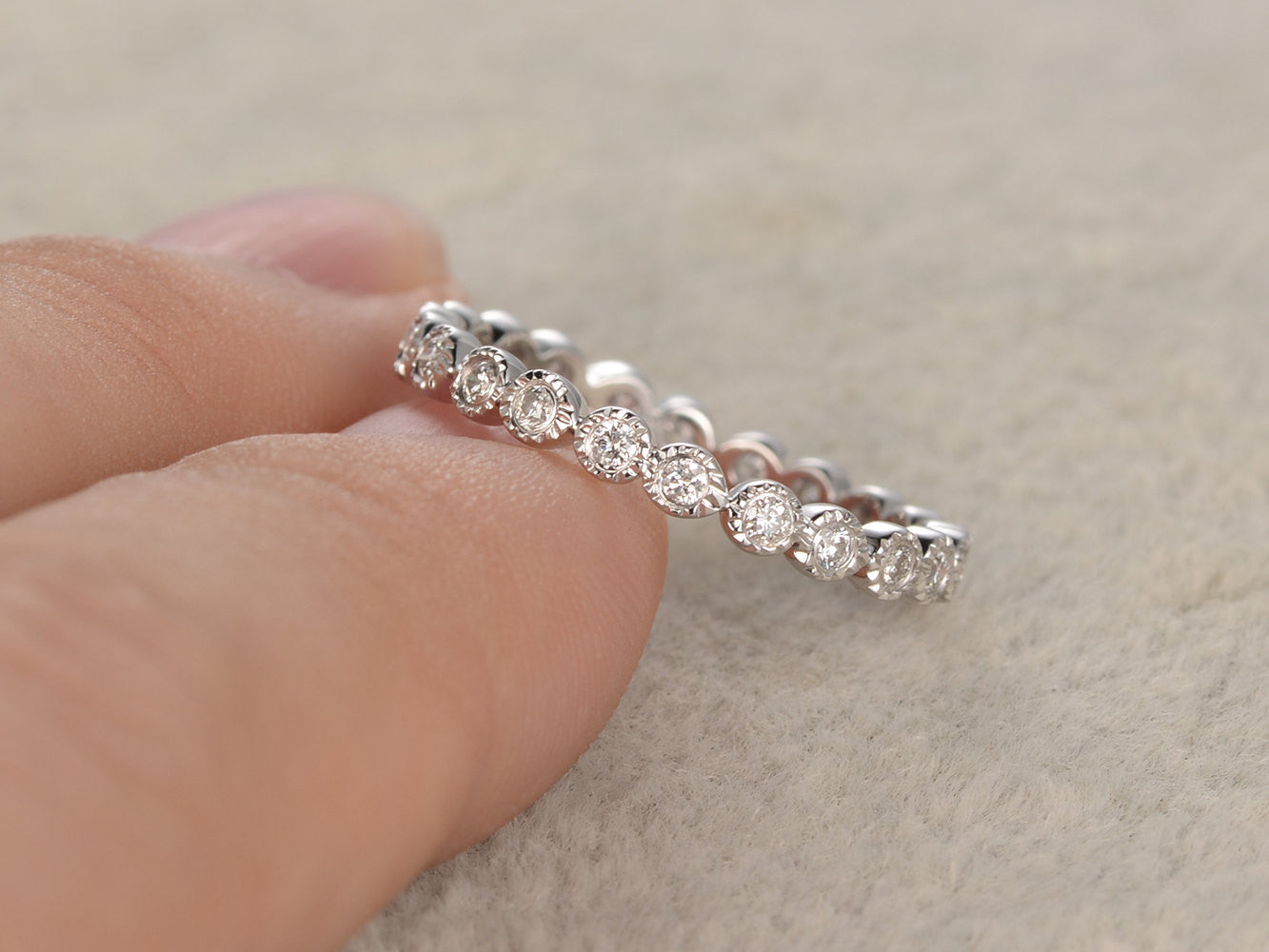 Diamond Wedding Ring,Solid 14K White gold,Anniversary,Full Eternity Band,Bezel Set,Infinity,stacking Ring,Matching band