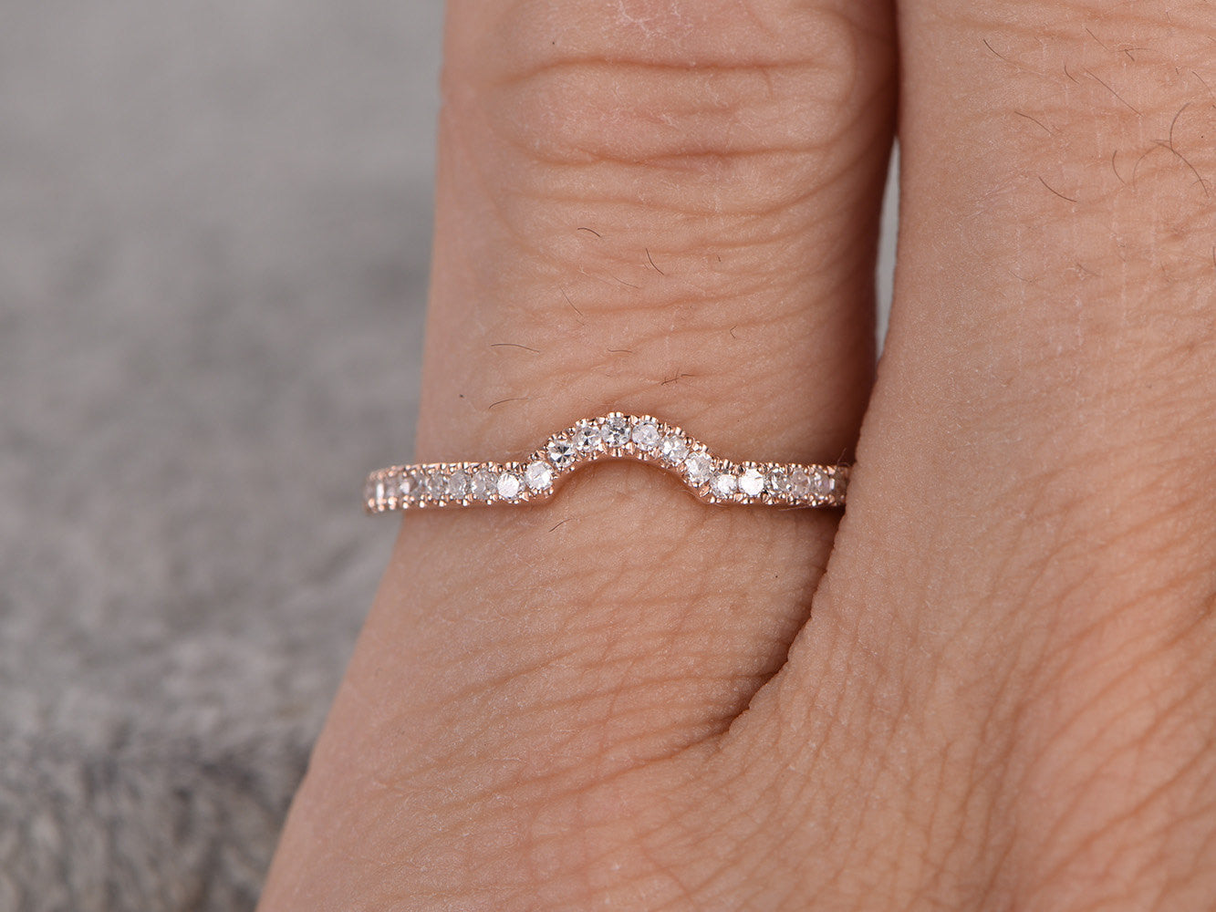 Diamond Wedding Ring,Solid 14K Rose gold,Half Eternity,Anniversary Ring,Stacking ring,Natural Gemstone,Curved matching band,micro pave set
