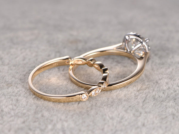 Two-tone Plain gold,2pcs 1ct Moissanite Bridal Ring Set,Engagement ring,Art Deco Diamond wedding band,6.5mm Round stone Promise Ring,Unique