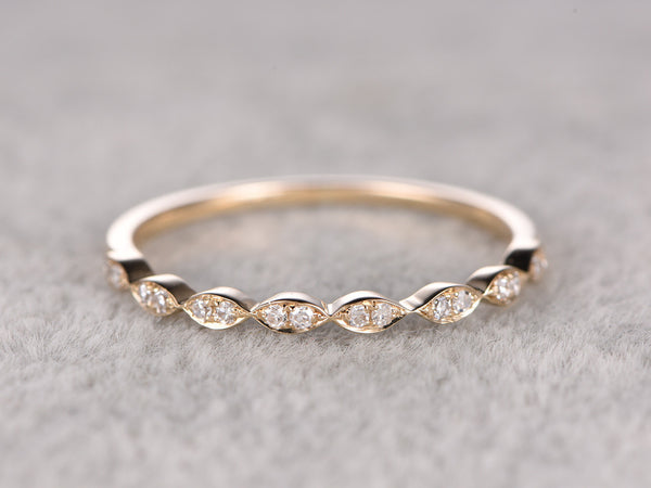 Natural Diamonds,Half Eternity Wedding Ring,Solid 14K Yellow gold,Anniversary Ring,Art deco Marquise style,stacking ring,Matching band
