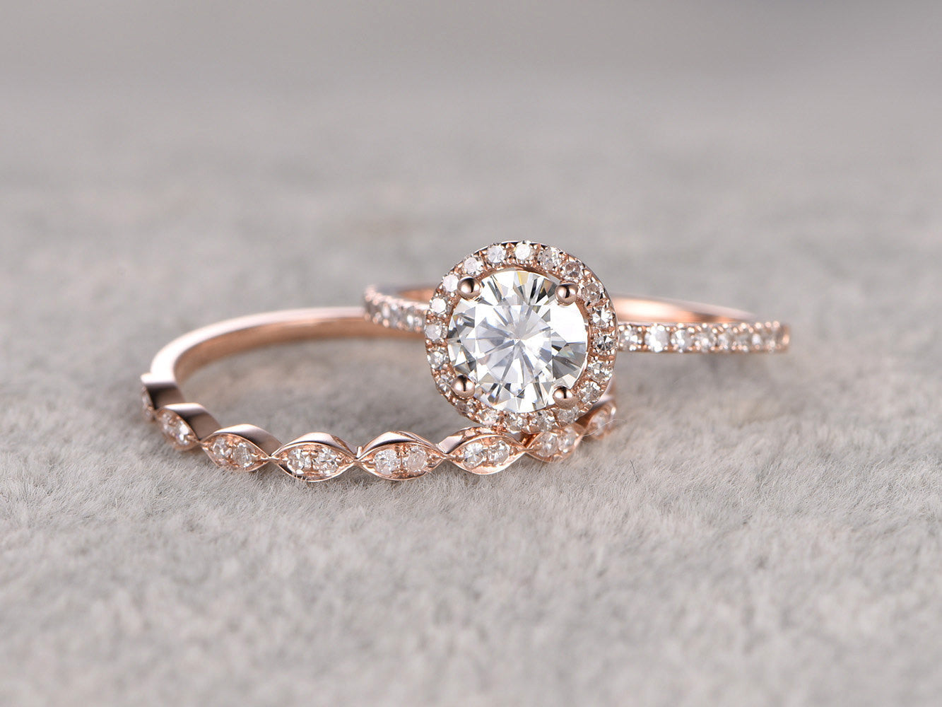 2pc Moissanite Bridal Set,Engagement ring Rose gold,Diamond Marquise wedding band,6.5mm Round Cut,Gemstone Promise Ring,Art Deco eternity