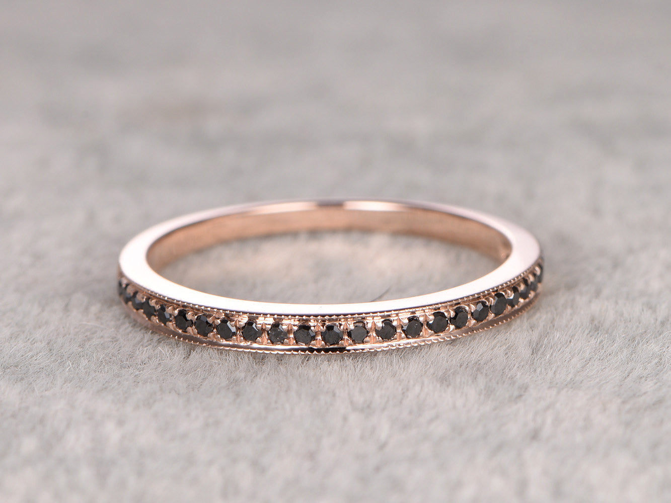 Black Diamond Wedding Ring,Solid 14K Rose gold,Anniversary Ring,Half Eternity Band,stacking ring,milgrain,Matching band,Micro pave,Fine band
