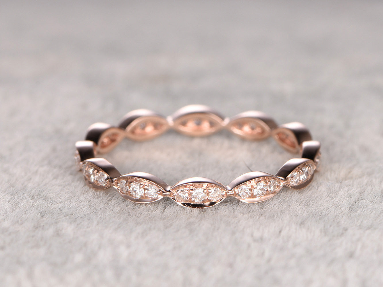 Natural Diamond Full Eternity Wedding Ring,Solid 14K Rose gold,Anniversary Ring,Art deco Marquise three stone,stacking Ring,Matching band