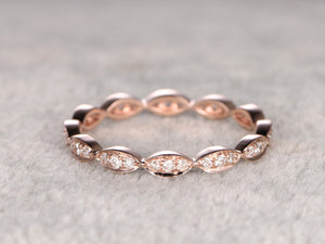 Moissanite Full Eternity Wedding Ring,Solid 14K Rose gold,Anniversary Ring,Art deco Marquise three stone,stacking Ring,Matching band,Fine