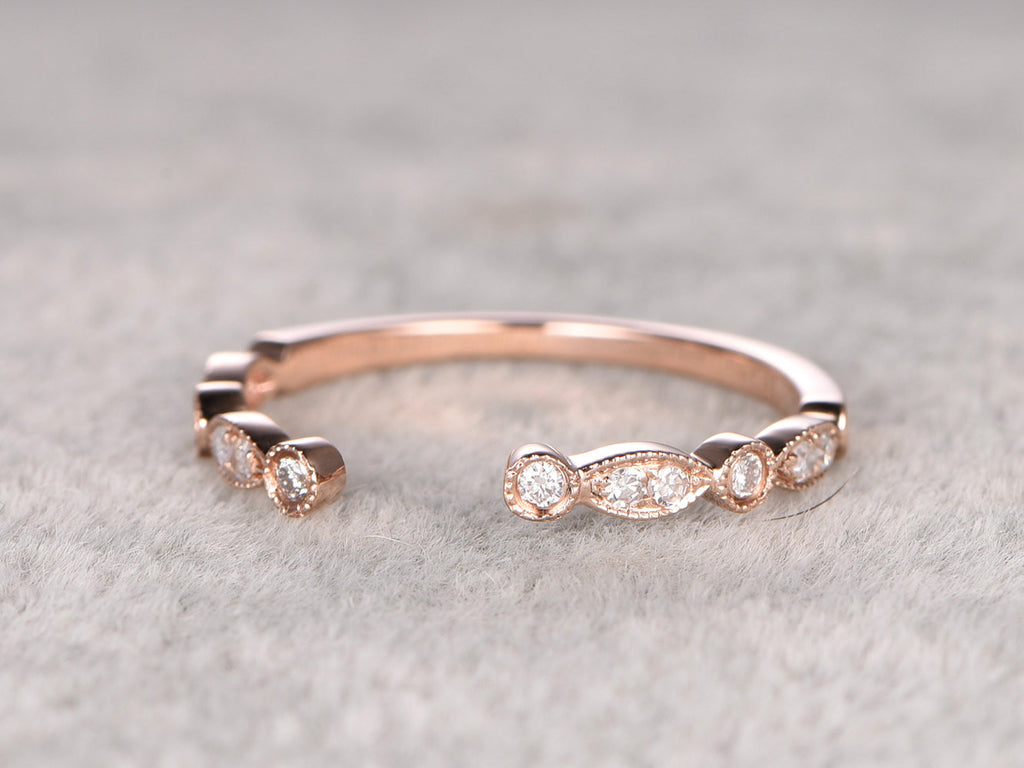 Moissanite Wedding Ring,14K Rose gold,Anniversary Ring,Half Eternity Band,Art deco Marquise,open stacking Ring,Matching band,Unique design