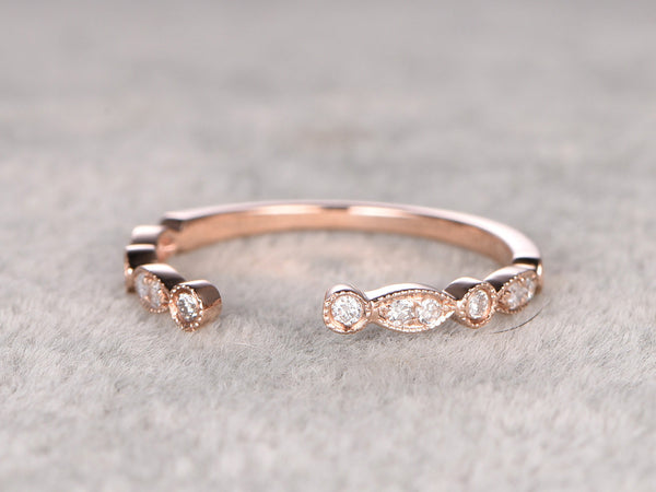 Diamond Wedding Ring,Solid 14K Rose gold,Anniversary Ring,Half Eternity Band,Art deco Marquise,stacking Ring,Matching band,Unique design