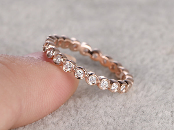 1.5mm Round Moissanite Wedding Ring,Solid 14K Rose gold,Full Eternity Band,Bezel Set,Infinity Ring,Matching band