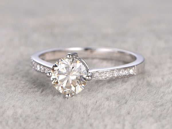 Moissanite Engagement ring White gold,Diamond wedding band,14k,5mm Round,4-prong,Anniversary Ring