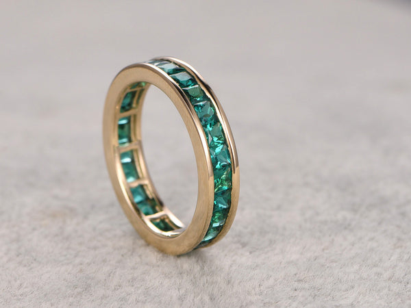2.35ct Princess Cut Emerald Wedding Band,Solid 14K Yellow gold,Anniversary Ring,Engagement stacking ring,Channel Set,Lab-treated Emerald