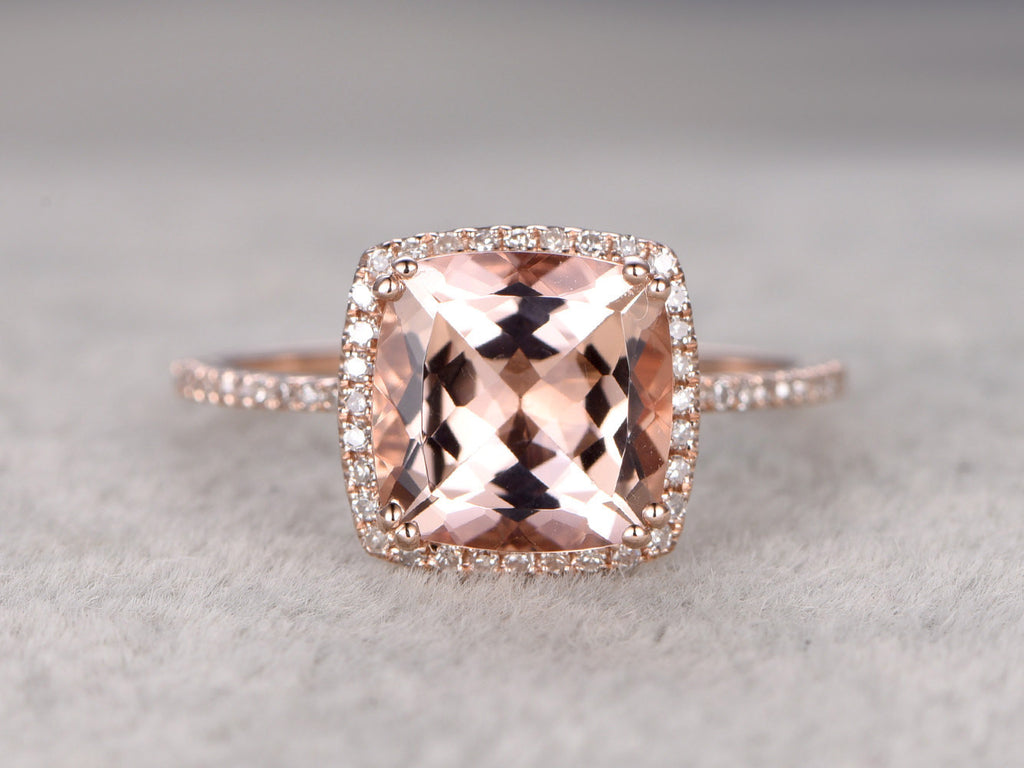 9mm Morganite Engagement ring Rose gold,Diamond wedding band,14k,Cushion Cut,Gemstone Promise Bridal Ring,8 ball Prongs,Pave,Handmade