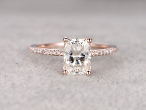6x8mm Radiant Cut brilliant Moissanite Engagement ring Rose gold,Diamond wedding band,Gemstone Promise Bridal Ring,Ball-Prong,Anniversary