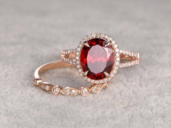 2pcs 8x10mm Natural Garnet Bridal Ring Set,Engagement ring,14k Rose gold,Diamond wedding band,Art Deco Marquise,Oval Gemstone Promise Ring