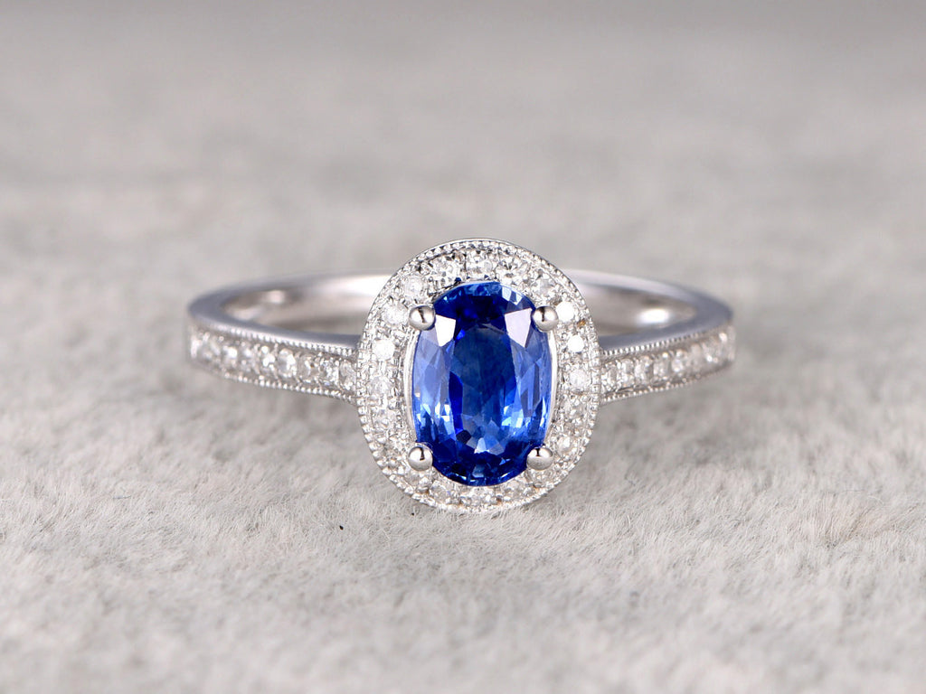 1.03ctw Natural Sapphire Engagement ring,Halo Diamond wedding band,Milgrain 14K White Gold,Oval cut Blue stone Promise Bridal Ring,Floral