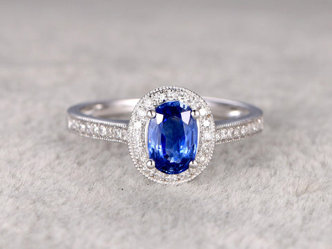 Natural Sapphire Halo Oval Cut Engagement ring, Floral&Milgrain 14K White Gold (1.03ctw )