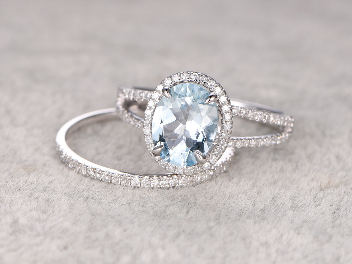2pcs 8x10mm Oval Blue Aquamarine Wedding ring set.Engagement ring,Diamond wedding band,14K White Gold,Gemstone Promise Bridal Ring,Stacking