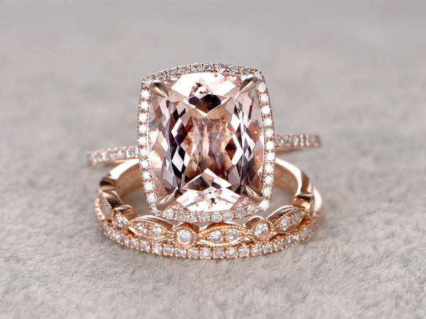 Payment plan:10x12mm Cushion Morganite Bridal Ring Set,size 6.5,14k rose gold