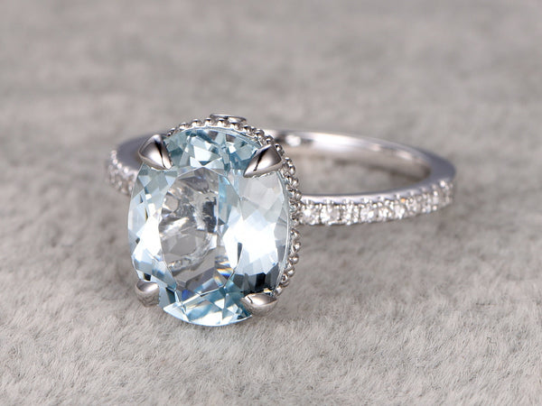 9x11mm Oval Big Aquamarine Ring!Filigree Art Deco Diamond Engagement ring White gold,Bridal,Unique Design,Blue Stone Promise Ring,wedding