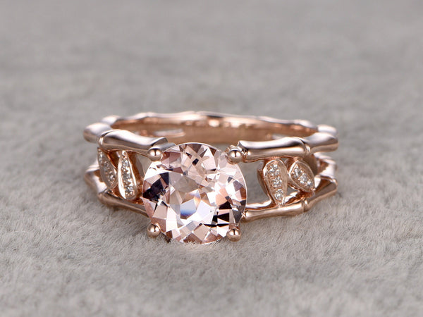 8x8mm Morganite Engagement ring Rose gold,Diamond wedding band,14k,Round Gemstone Promise Bridal Ring,Unique Bamboo shank,Handmade leaf ring