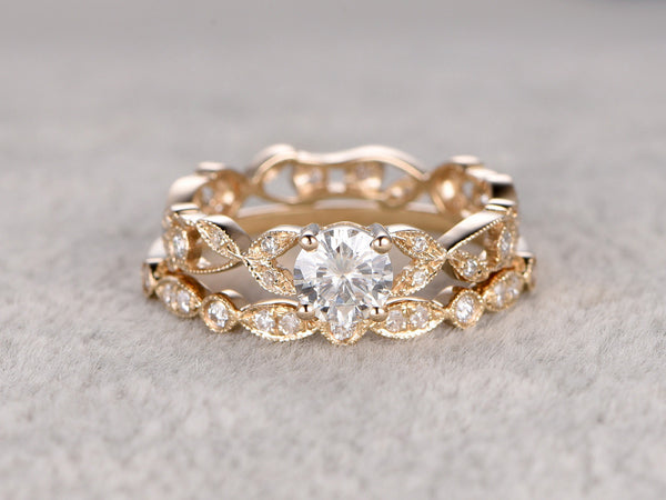 2pcs Moissanite Bridal Ring Set,Engagement ring Yellow gold,Art Deco Diamond wedding band,5mm Round cut stone Promise Ring,Filigree floral
