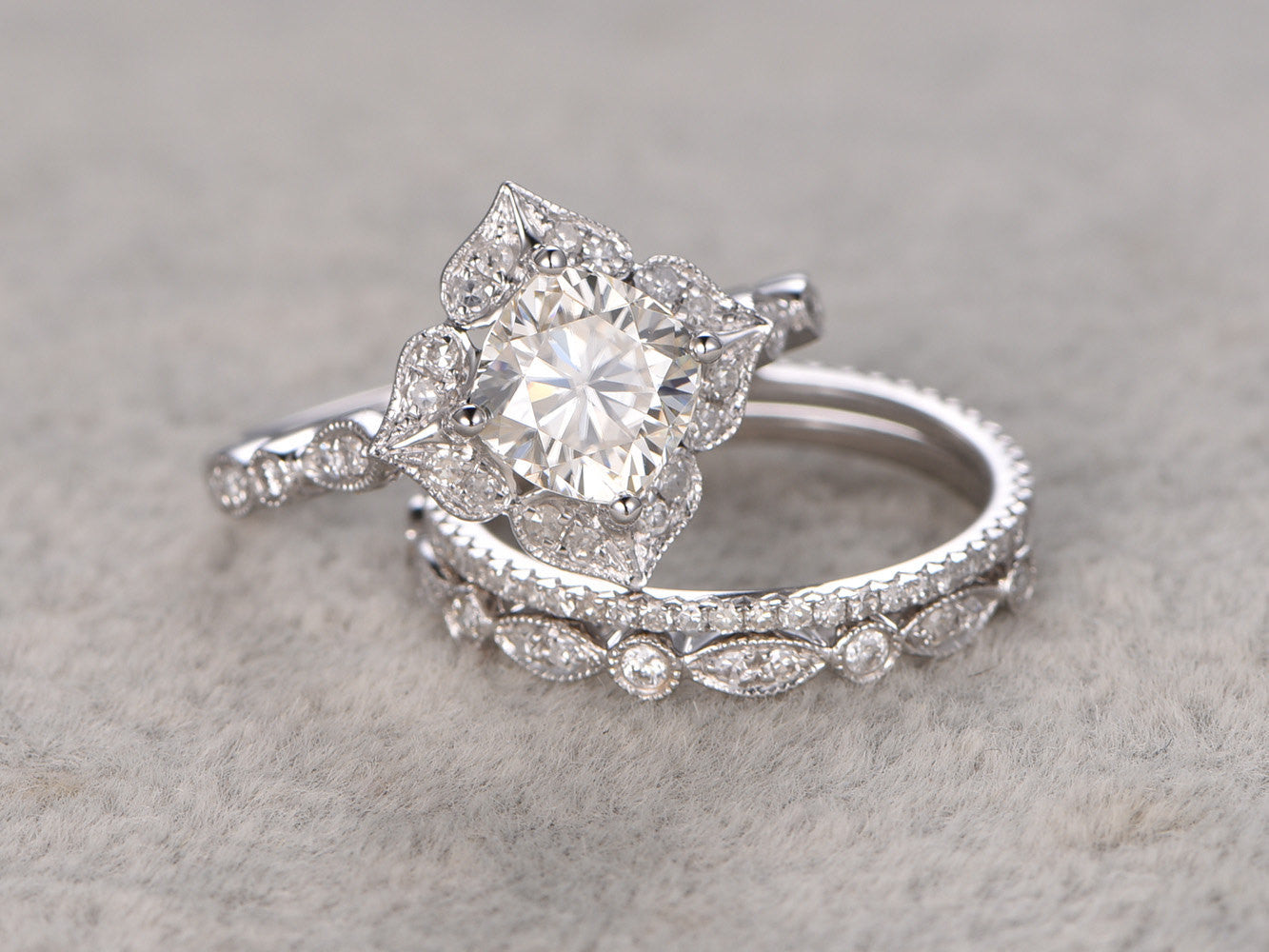 3pc 6mm Cushion brilliant Moissanite Engagement ring set,14k White gold,Diamond wedding band,Promise Bridal Ring,Halo floral,Anniversary
