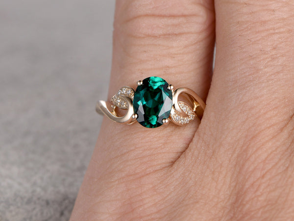 6x8mm Oval Emerald engagement ring,Diamond wedding band,14K Yellow Gold,Gemstone Promise Bridal Ring,Green,Propose ring,Floral,Filigree