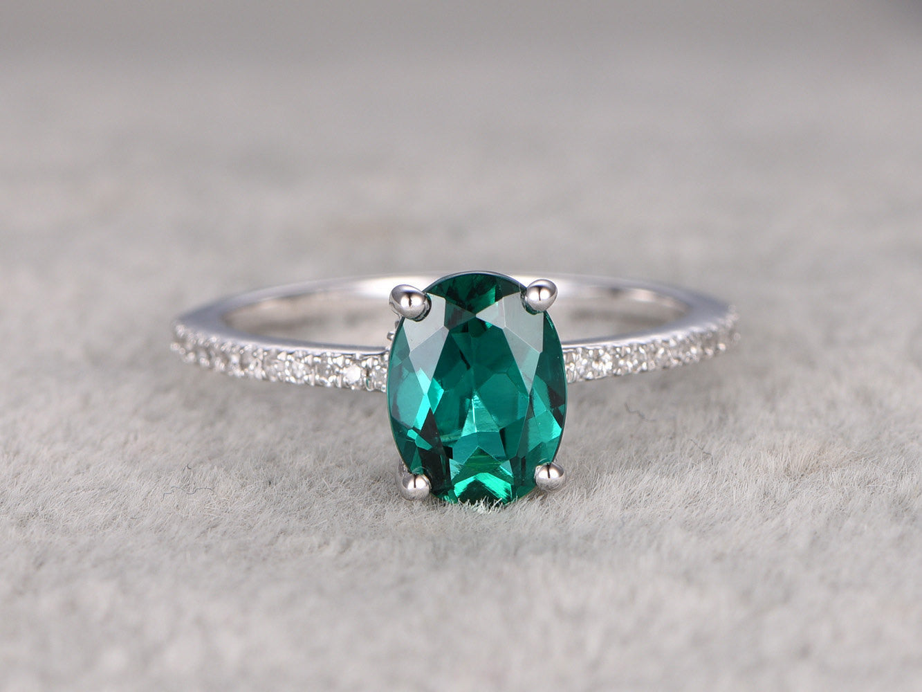 Emerald Engagement ring White gold,SI-H Diamond,wedding ring,14k,6x8mm Oval Shaped Cut,Green Treated Gemstone Promise,Anniversary Ring,Fine