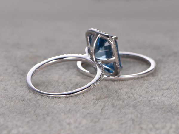 2pcs 8x10mm Blue Topaz Bridal Ring Set,Engagement ring,14k White gold,Diamond wedding band,Emerald Cut gemstone,Gemstone Promise Ring