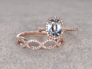 2pcs Aquamarine Bridal Set,Engagement ring Rose gold,Curved loop Diamond wedding band,6x8mm Oval Blue Gemstone Promise Ring,Matching Band