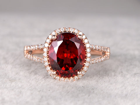 Big 8x10mm Natural Garnet Engagement ring,Diamond wedding band,14K Rose Gold,split shank,Oval stone Promise Ring,Bridal Ring,Stacking Ring